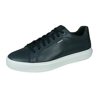 Geox U Deiven B Mens Leather Trainers / Shoes - Navy
