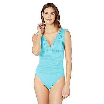 La Blanca Women's Island Goddess Convertible Tie Strap One Piece, Aqua, Size 4.0