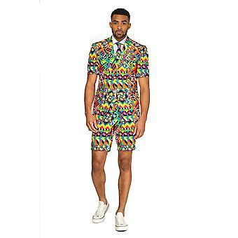 Abstractive Misguided cor padrão terno Summersuit terno Slimline homens de 3 peças Premium
