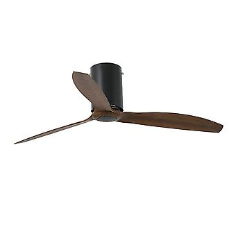 Faro - Mini Tube Medium Matt Black And Wood Ceiling Fan With / Without Light FARO32042