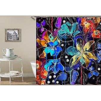 Dark Flower Painting Shower Curtain