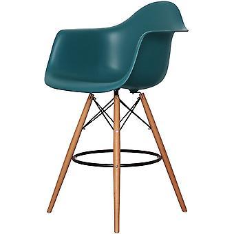 Charles Eames stile Teal Plastic Bar Sgabello con le braccia