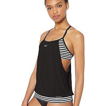 Nike Swim Women's Layered Sport Tankini Swimsuit Set, Black, Black, Size Medium