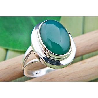Green Onyx Ring 925 Silver Sterling Silver Silver Women's Ring Green (IRM 91-14)