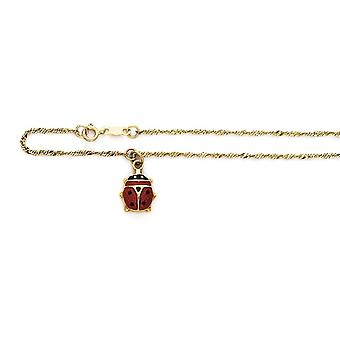 14k Yellow Gold Enameled Ladybug Anklet 10 Inch Jewelry Gifts for Women - 1.8 Grammes