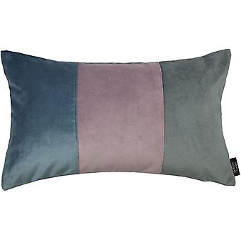 McAlister textilier 3 färg lapp täcke sammet blå, lila + grå kudde