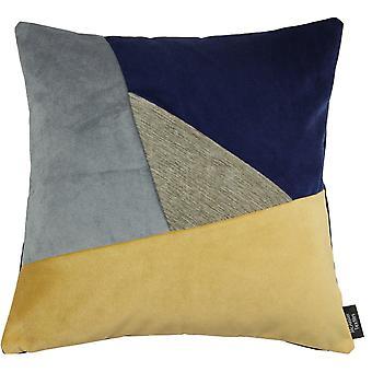 McAlister textilier triangel lapp täcke sammet marinblå, gul + grå kudde