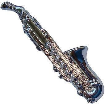 Bassin and Brown Saxophone Tie Bar - Silver