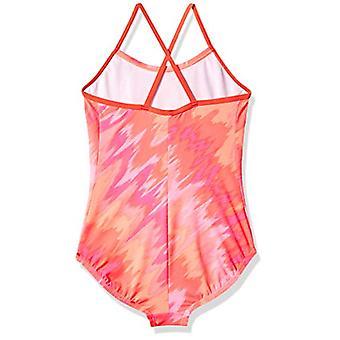 Nike Swim Big Girls' Crossback One Piece Swimsuit, hot Punch Splash, 10