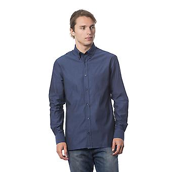Męskie niebieskie koszulki z długim rękawem Roberto Cavalli