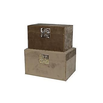 Stjernsund Smyckeskrin Box Sammet ljusbrunt 2-set