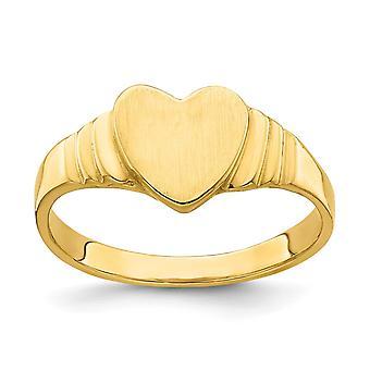 14k Gold Love Heart Signet Baby Ring Size 3.75 - 1.7 Grams
