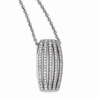 925 Sterling Silver Pave Rhodium plated Lobster Claw Closure and CZ Cubic Zirconia Simulated Diamond Polished Fancy Neck