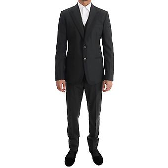 Dolce & Gabbana Gray Wool Slim Fit Two Button 3 Piece Suit