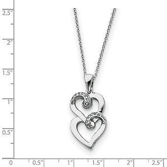 925 Sterling Argent Poli Cadeau Boxed Spring Ring Rhodium plaqué CZ Cubic Zirconia Simulated Diamond Love Heart Neckla