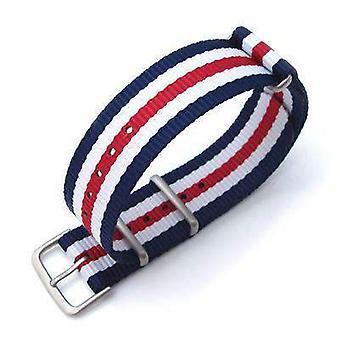 Strapcode n.a.t.o pulseira de relógio miltat 20mm g10 pulseira de relógio militar faixa de nylon balístico, escovado - azul, branco e vermelho