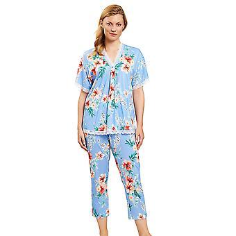 1203104-16070 Femmes-apos;s New Romance Blue Hibiskus Floral Pyjama Set