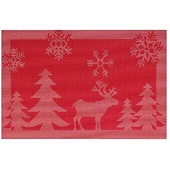 Jacquard Place Mat Red Stag