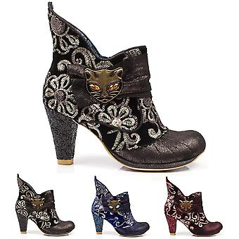 Womens Irregular Choice Miaow Evening Cat Party Ankle Boot Mid Heels