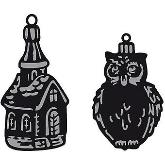 Marianne Design Craftables Cutting Dies - Tiny's Ornaments Church & Owl CR1381