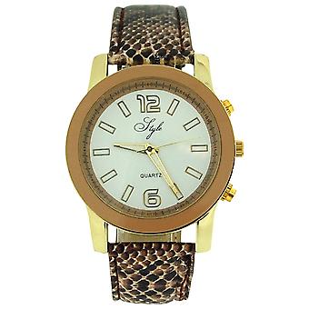 Style Ladies Analogue White Dial & Brown Crocodile Effect PU Strap Watch NSS904