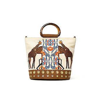 Desigual Women's Savana Bacau Shopper Bag with African Giraffe Embroidery & Rigid Handle