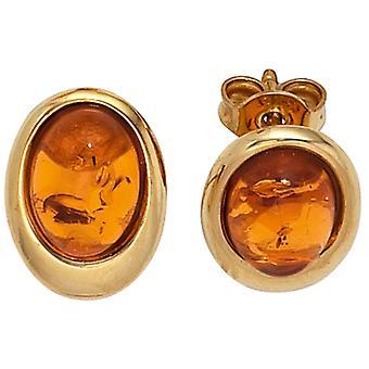 ترصيع البيضاوي 375 الذهب الأصفر الذهب 2 الكابوشونات العنبر الأقراط البرتقالية