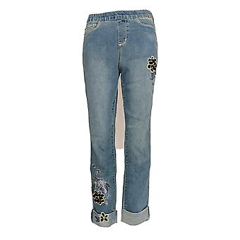 Denim & Co. Women's Jeans Pull-On Floral Embroidered Cuffed Blue A342038