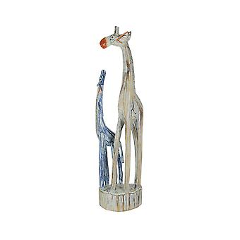 Hand Carved and Painted Wooden Mother and Child Giraffe Statue