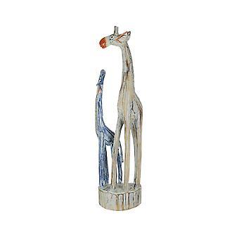 Handsnidade och målade trä mor och barn giraff staty