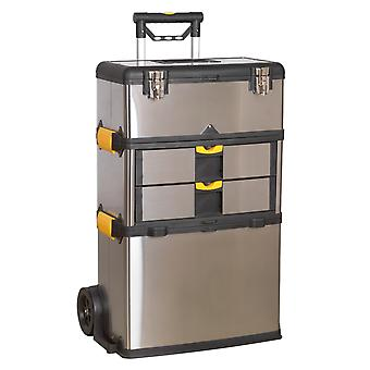 Sealey Ap855 Mobile Stainless Steel/Composite Tool Box - 3 Compartment