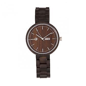 Earth Wood Mimosa Bracelet Watch w/Day/Date - Dark Brown