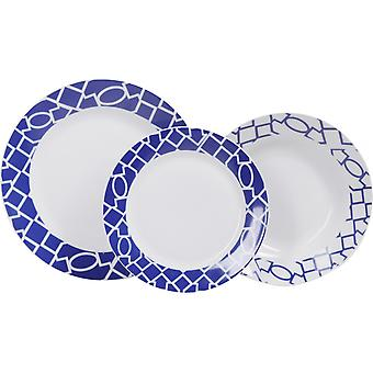 Piatti Blubay Colore Bianco, Blu in Porcellana, Ogni Piatto Fondo L20,5xP20,5 cm, Ogni Piatto Piano L24xP24 cm, Ogni Piatto Frutta L19xP19 cm