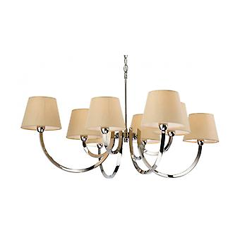 Pendant Light 8 Bulbs Fairmont, Stainless Steel, With Lampshade