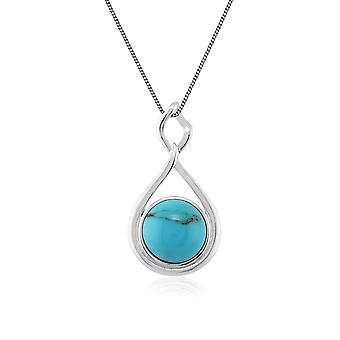 Modern Round Turquoise Cabochon Pendant Necklace in 925 Sterling Silver 271P009601925