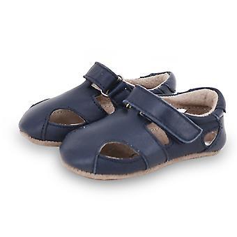 SKEANIE Leather Pre-walker Sunday Sandals in Navy