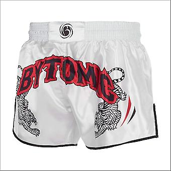 Bytomic twin tiger muay thai shorts white/black/red