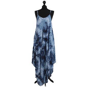 Womens Fossil Print Hanky Hem Dress | Denim | One Size