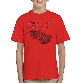 Haynes propietarios 0686 Manual de taller Ford Escort XR3 negro camiseta de niño