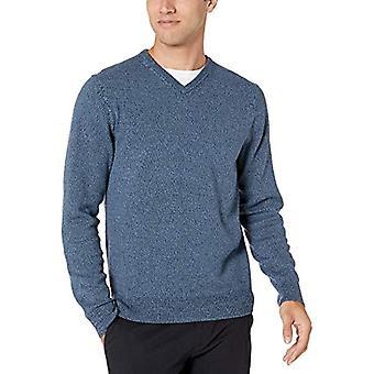 Essentials Men's V-Neck Sweater, Navy Marled Large