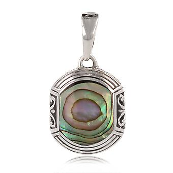 ADEN 925 Sterling Argento Abalone Collana Adiposo etnica (id 4329)