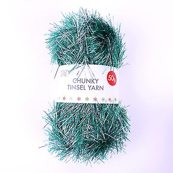 Simply Creative Chunky Tinsel Yarn Green & Silver