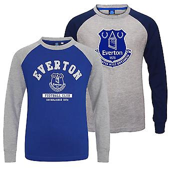 Everton FC Official Football Gift Kids Crest Long Sleeve Raglan T-Shirt