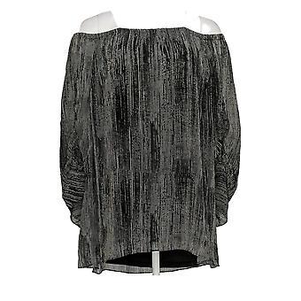 H by Halston Women's Plus Top Printed Chiffon Blouse Black A306901
