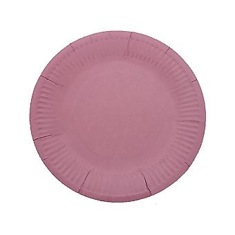 10 PCS Disposable Round Paper Plates 7 Inch Pink