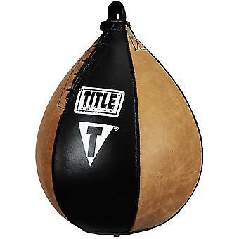 Title Boxing Vintage Leather Super Speed Bag - Black/Brown