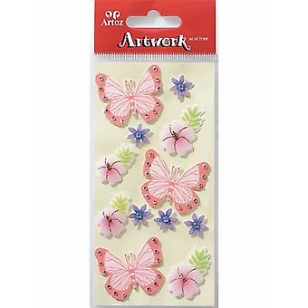 الفراشات والزهور حرفة زخرفة من أرتوز