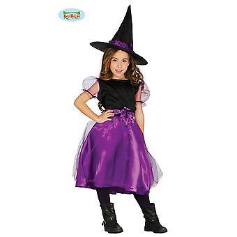 Guirca Lila Kinder Hexe mit Hut Halloween Kostüm für Mädchen Hexenkostüm