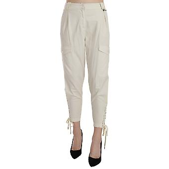Just Cavalli White High Waist Tapered Cropped Trousers  Pants
