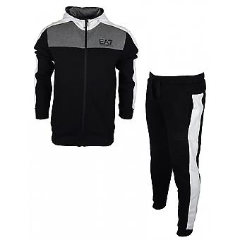EA7 by Emporio Armani Zip Up Hooded Black Cotton Tracksuit
